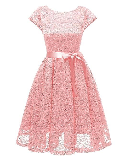 KAXIDY Vestidos de Cóctel Encaje Vestidos de Fiesta Vintage Coctel Ropa para Mujer (Rosa,
