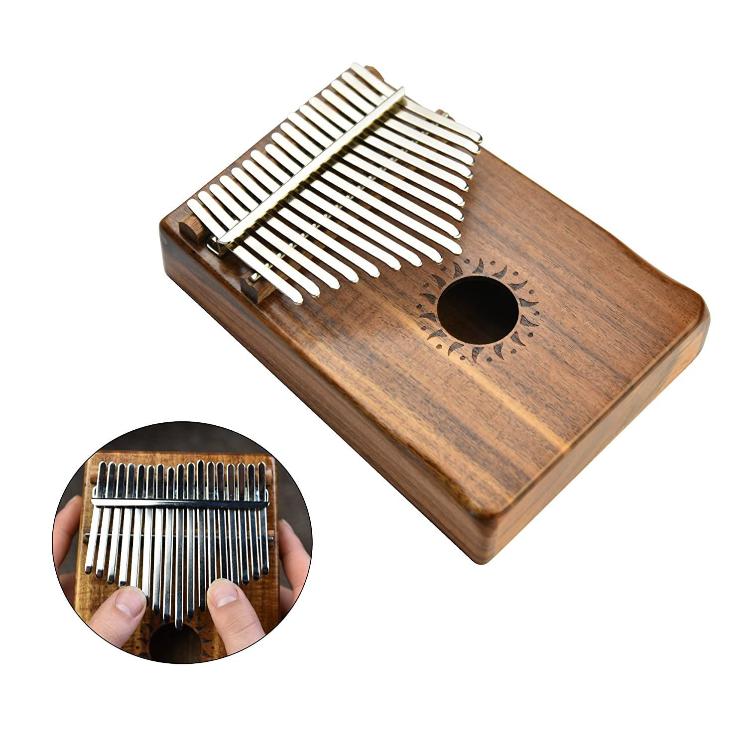 17 Key Kalimba Thumb Piano Mbira with Solid Koa Wood and Mineral Steel Keys (Includes Tuning Hammer, Music Book, Instructions, and Cloth Carrying Bag) Everyman Products