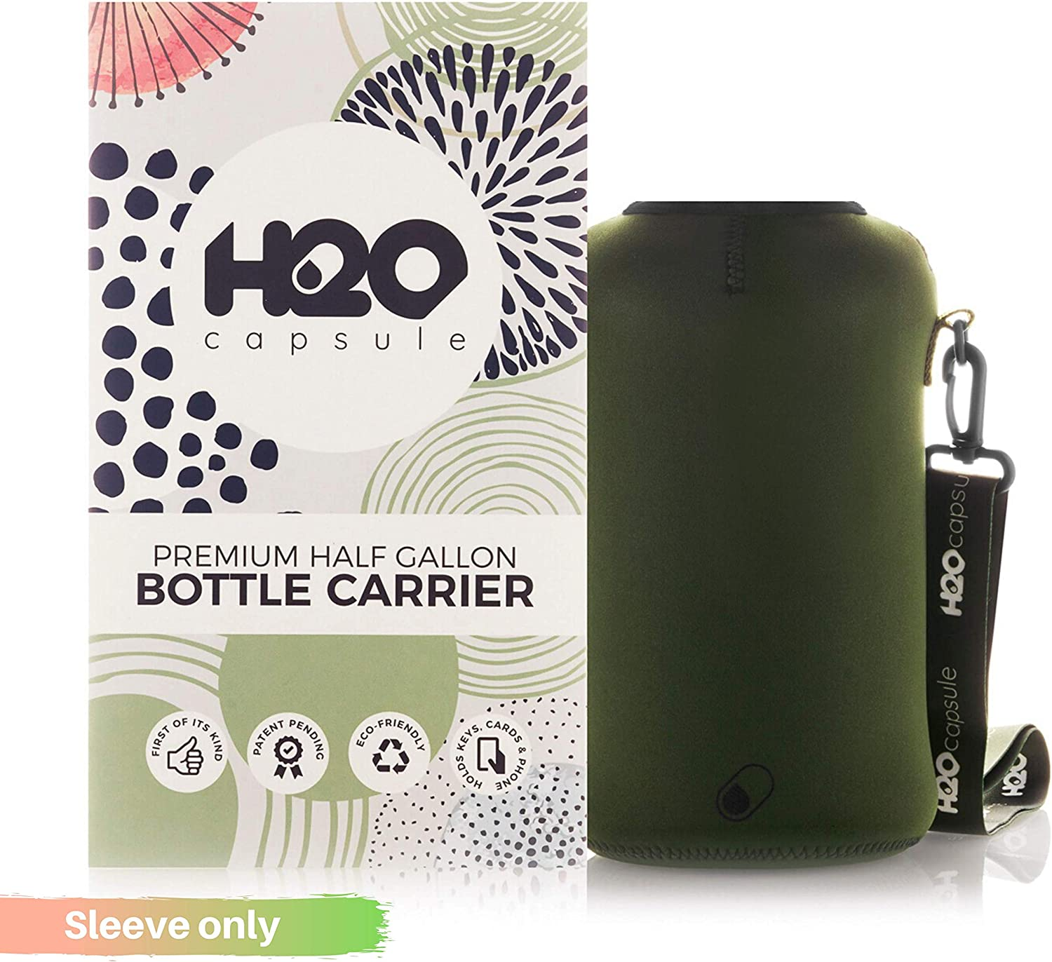 H2O Capsule Half Gallon Water Bottle Holder with Strap Water Bottle Carrier with Shoulder Strap (Patent Pending) - Neoprene Water Bottle Sleeve for Large 2.2 Liter/74oz Drink Bottle