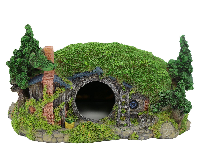 "Hobbit Miniature Hillside Cave Farm House Manor Aquariums Decor 11''L x 8""W x 6''H"