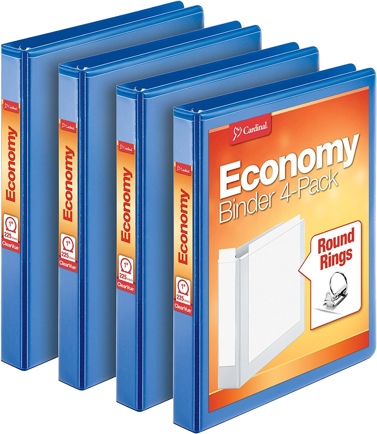 Cardinal 3 Ring Binder, 1 Inch, Round Ring, Blue, 4 Pack, Holds 225 Sheets (79511)