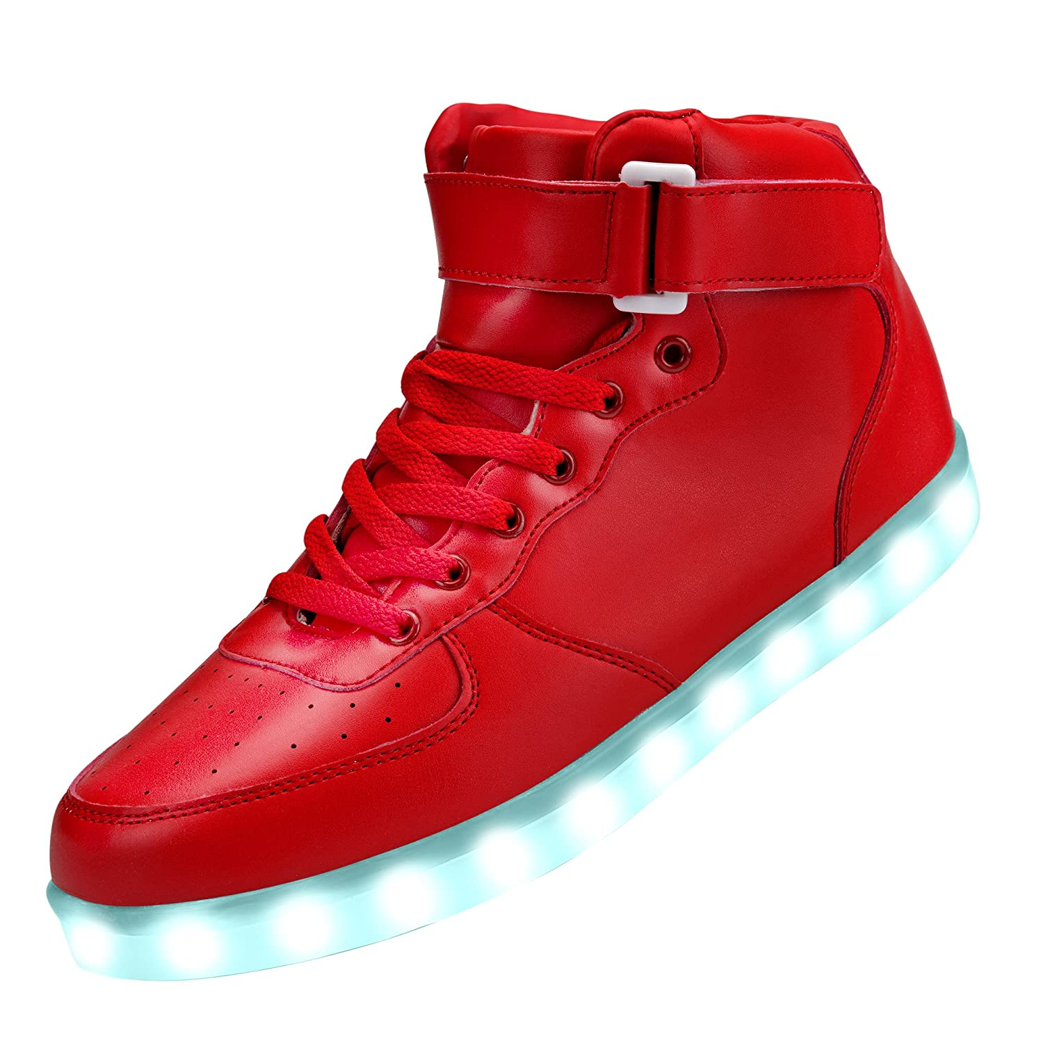 GreatJoy Cool Fun Light up LED Shoes Sneaker 7 Colors USB Charging B01M6759I9 6B(M)US-women/4.5D(M)US-men|Red