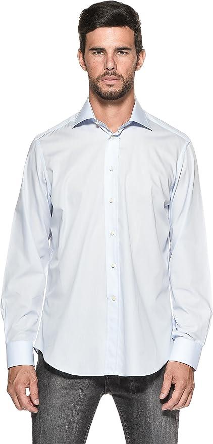 Camicissima Camisa Slim Fit Cuello Francés Azul Celeste 40 ...