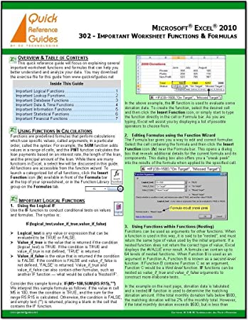 Amazon.com : MICROSOFT EXCEL 2010 Quick Reference Guide: Important ...