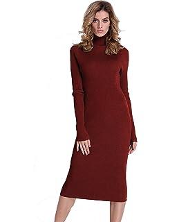 cdb0cda70e57a PrettyGuide Women Slim Fit Ribbed Turtleneck Long Sleeve Maxi Knit Sweater  Dress