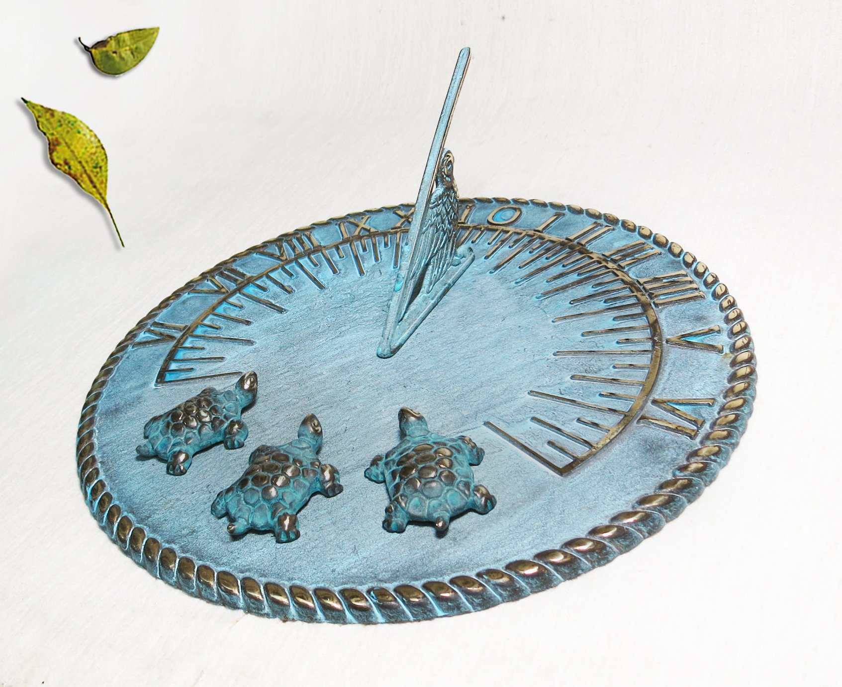 Brass Decorative Sundial 10'' Inches Wide - With 3 Turtles