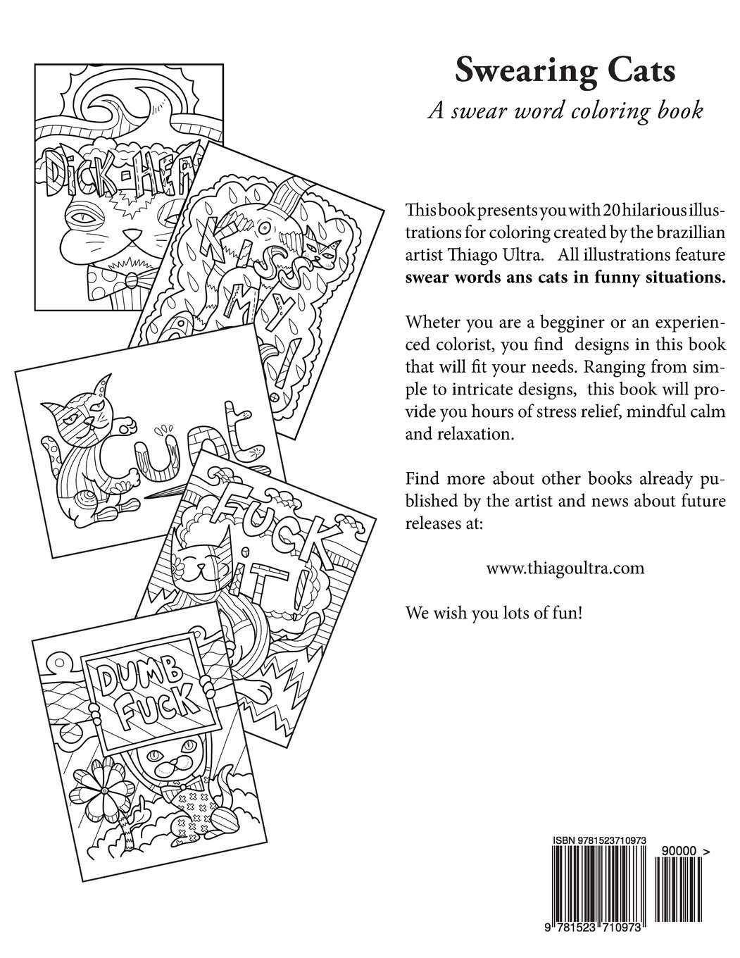 Swearing Cats A Swear Word Coloring Book Featuring Hilarious Sweary Books Cat Thiago Ultra 9781523710973 Amazon