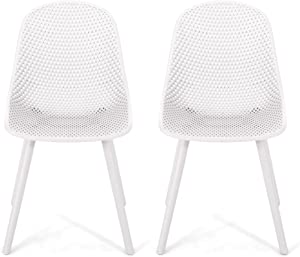 Christopher Knight Home 312459 Darleen Outdoor Dining Chair (Set of 2), White