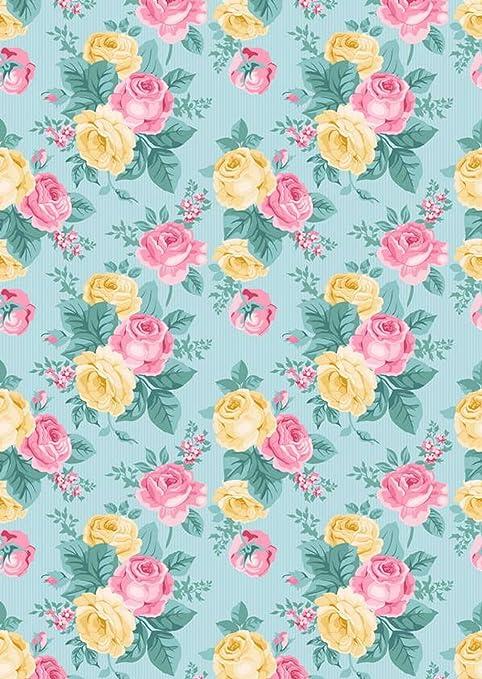 Giallo Rosa Rose Fiori Su Sfondo Blu Per Studio Fotografico Stampato