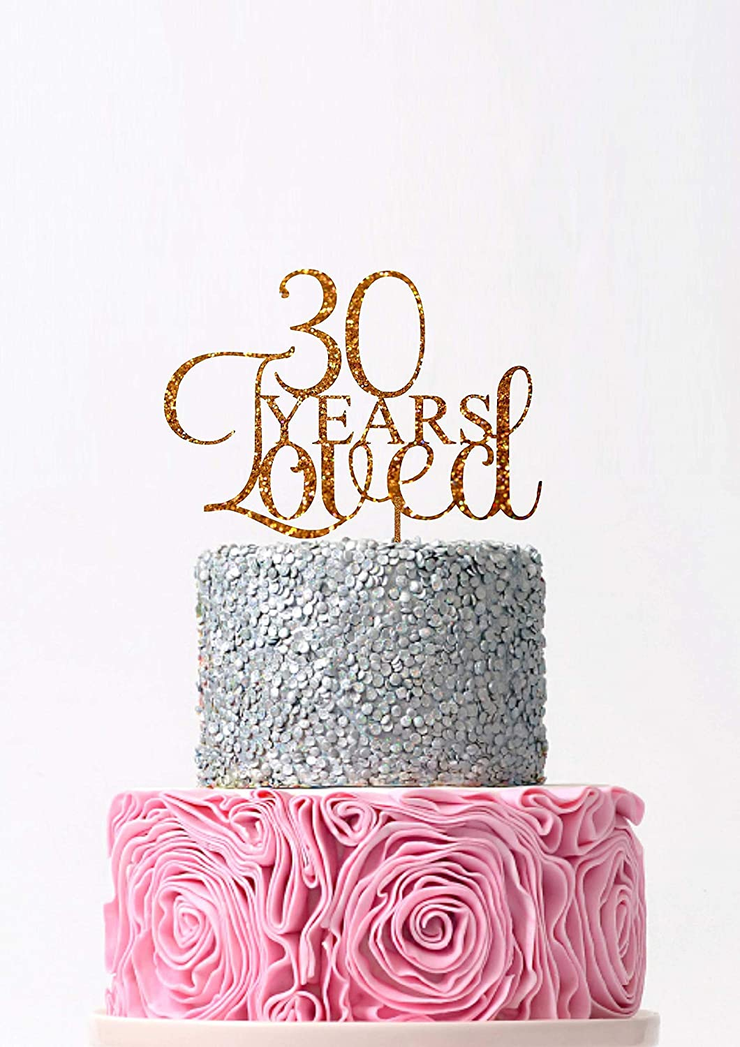 Awesome Amazon Com 30 Years Loved Birthday Cake Topper Happy 30Th Cake Funny Birthday Cards Online Elaedamsfinfo