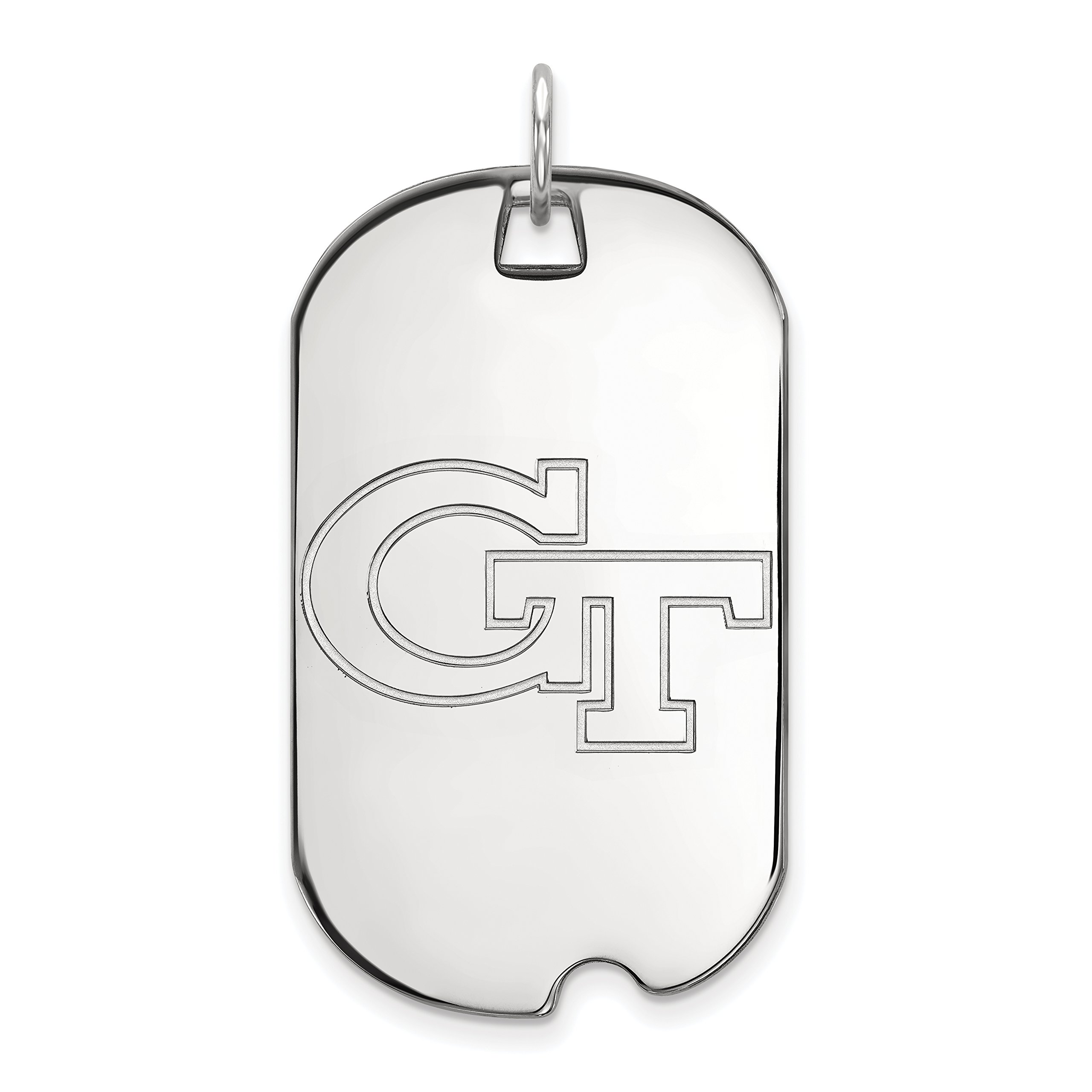 Sterling Silver Georgia Tech Yellow Jackets Dog Tag Pendant