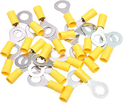 25 12-10 YELLOW VINYL RING TERMINAL 5//16 ELECTRICAL CONNECTOR MADE IN USA
