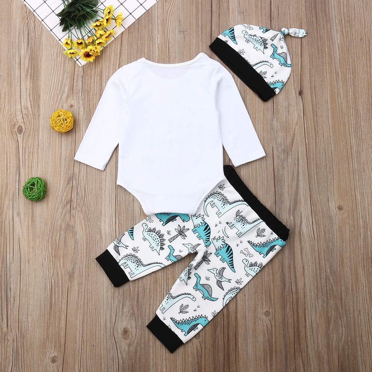 M/ütze Neugeborene Kleinkinder Weiche Babyset T-18266 Hose Geagodelia 3tlg Babykleidung Set Baby Jungen Kleidung Outfit Body Strampler