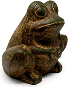 Elly Décor Frog Garden Statue Lawn décor, 9-inch Art Sculpture for Your Patio & Yard, Ceramic Animal figurin, Green Rustic