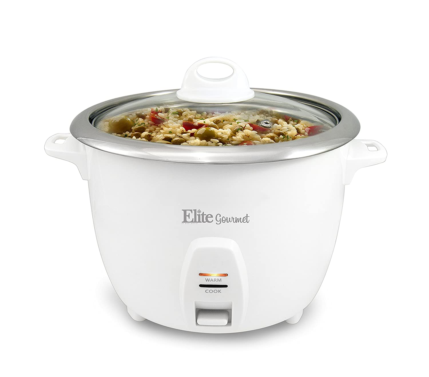 Amazon.com: Elite Gourmet ERC-2010 Rice Cooker with Stainless Steel  Removable Pot, Glass Lid, Automatic Keep Warm Function, Makes Soups, Stews,  Grains, ...