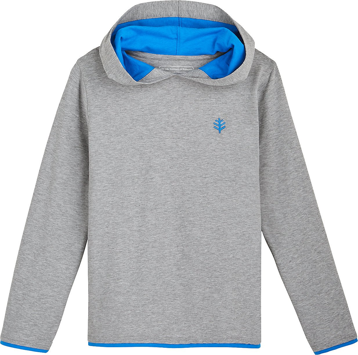 Coolibar UPF 50+ Kids' Oasis Pullover Hoodie - Sun Protective (Large- Grey Heather)
