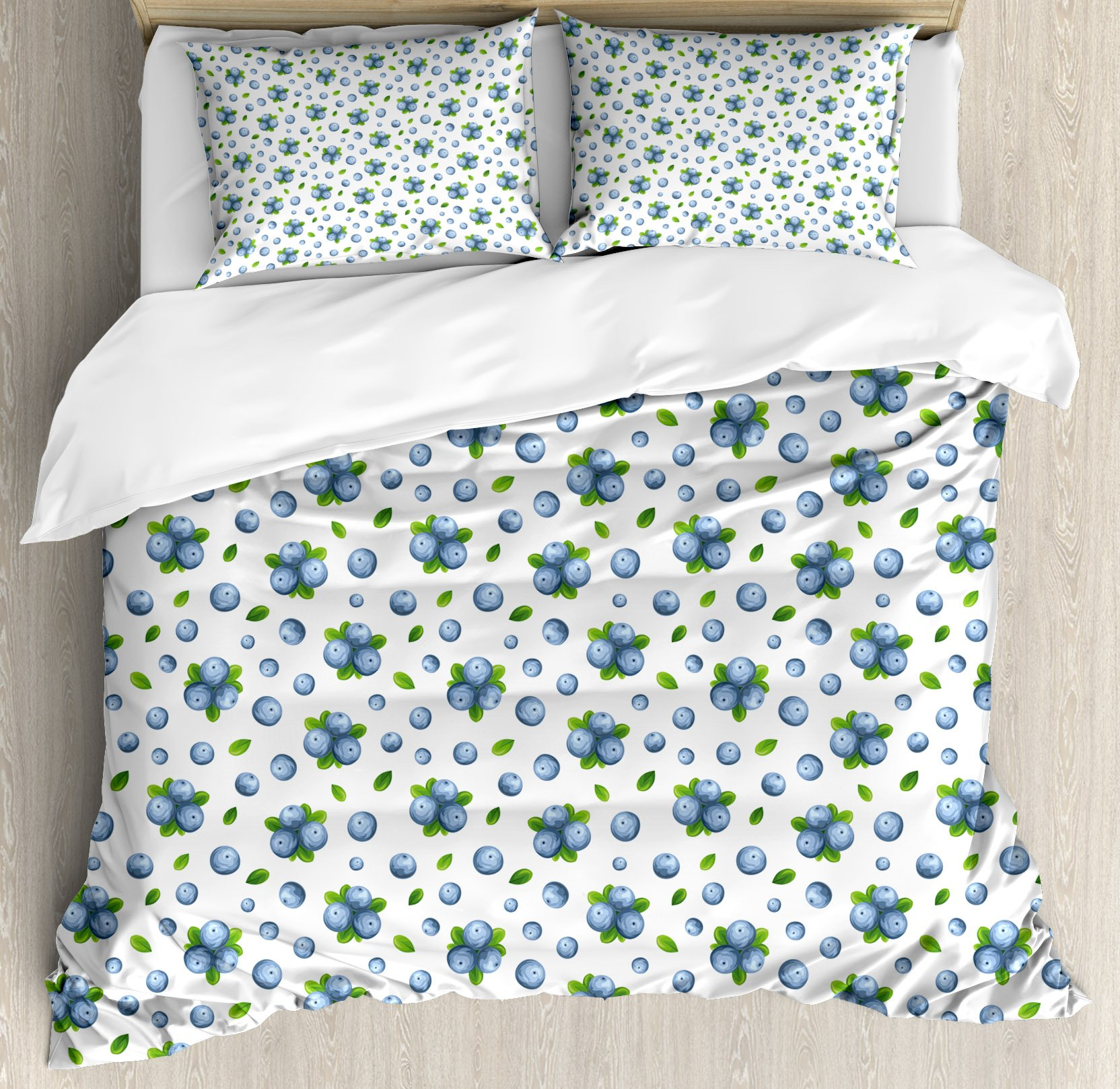 Kitchen Wall Duvet Cover Set by Ambesonne, Fresh Blueberries Ripe Juicy Fruits Summer Organics Food Painting Style, 3 Piece Bedding Set with Pillow Shams, Queen / Full, Blue Green White