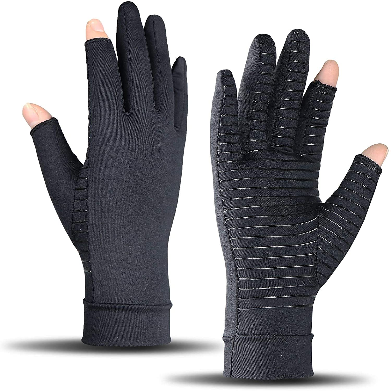 Arthritis Compression Gloves for Women and Men, Copper Gloves for Arthritis, Hand Pain, Swelling, Rheumatoid, and Everyday Hands Support (Pair) (Black, Medium)