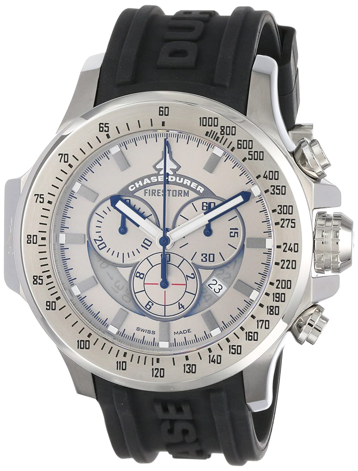 Amazon.com: Chase-Durer Men's 380.2SS-RUBB Firestorm Chronograph Stainless  Steel Rubber Strap Watch: Watches