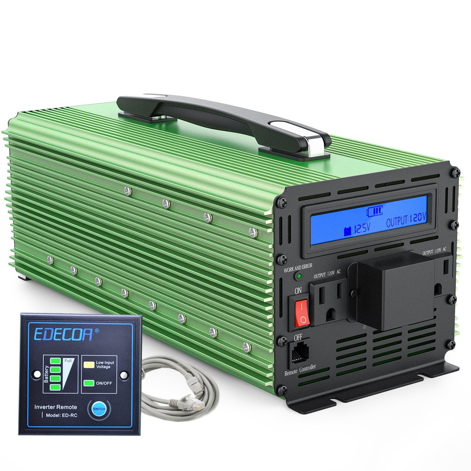 EDECOA 3000W Power Inverter Modified Sine Wave DC 12V to 110V AC with LCD Display and Remote by EDECOA