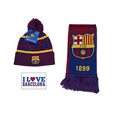 2506b42cae4 Fc Barcelona Set Beanie Pom Skull Cap Hat and Scarf Reversible (Blue Maroon)