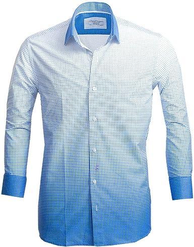 Russell & Giles Camisa de algodón puro para hombre con estampado de cachemira.