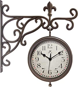 Infinity Instruments Beauregard 8 inch Outdoor Clock Thermometer Combo for Patio Porch Garden Outdoor Decorative Double-Sided Resin Clock Thermometer Wall Hanging with Bracket