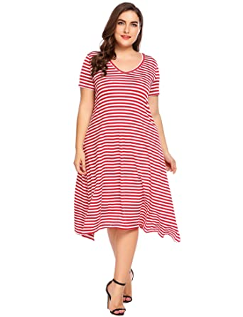 c3e7301b Women Plus Sizes Casual V-Neck Short Sleeve Awing Dress Striped A ...