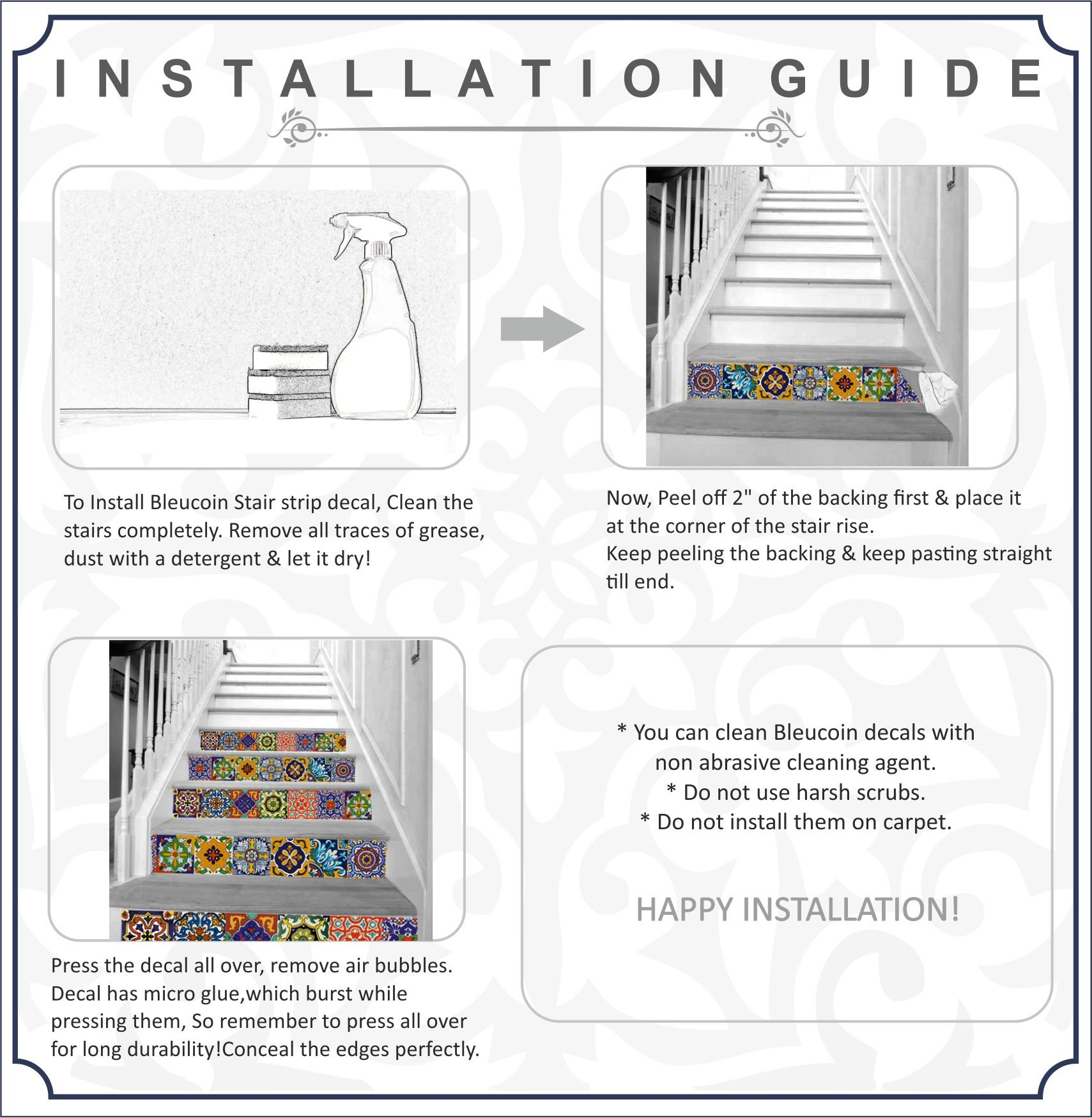 Bleucoin Stair Riser Decal Strips : Tropical Interior Trend - Pack of 10 Strips with 124cm Length (8'' x 49'' (Pack of 10 Strips)) by Bleucoin (Image #3)