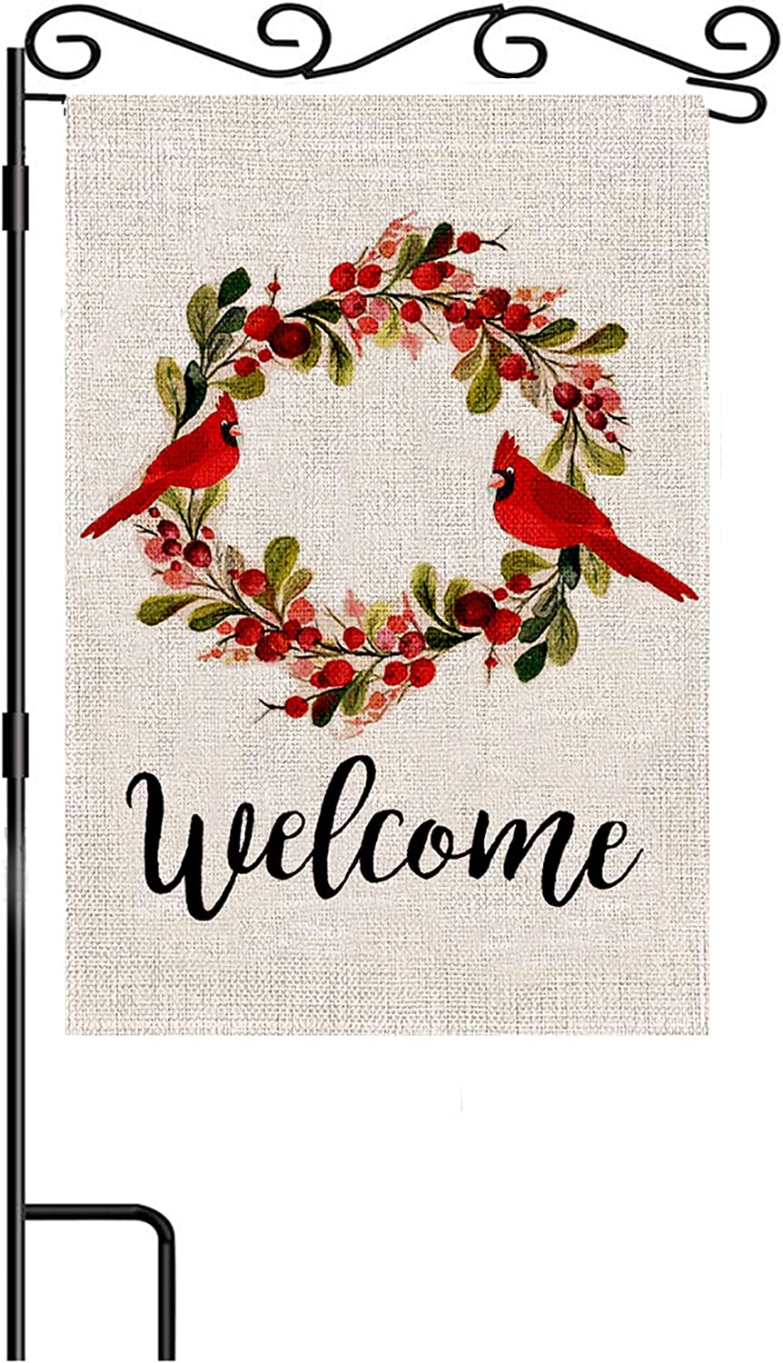 FADDA Welcome Red Cardinal Garden Flag Vertical Double Sided 12.5 X 18 Inch Spring Summer Fall Winter Garden Flag Flag Outdoor Decor (Bird-a)