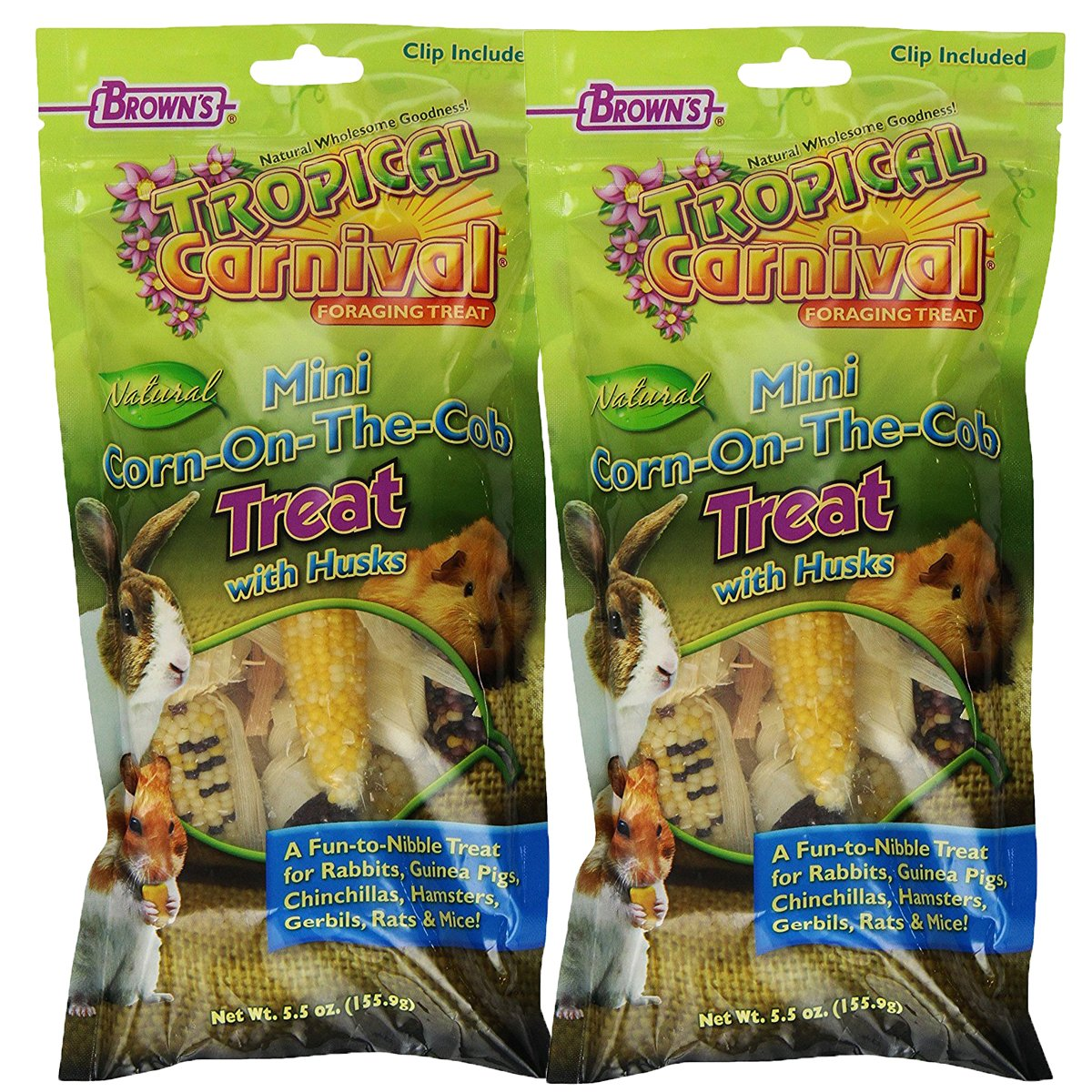 Brown's Tropical Carnival Mini Corn-on-the-Cob with Husks Foraging Treats, 2-Pack by F.M. Brown's