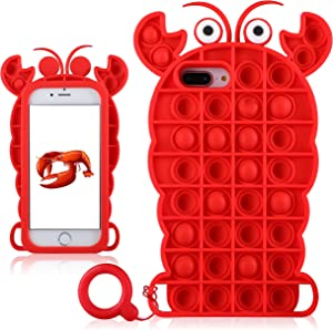 Jowhep for iPhone 6/6S/7/8 Plus Case Cover Cases Silicone Cartoon Fun Cute Aesthetic Design Fidget Funny Unique for Girls Boys Friends-Bubble Lobster(for iPhone 6 Plus/6S Plus/7 Plus/8 Plus 5.5