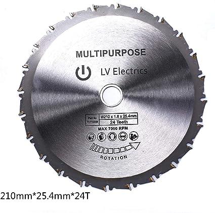 disco da taglio multiuso per legno 210 mm in acciaio al carburo TCT Lama per sega circolare foro da 25,4 mm ecc. Tcatec acrilico plastica 24 denti