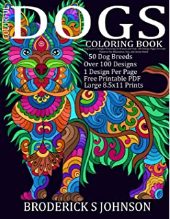 Colorful Dogs Coloring Book Adult Gift A Dog Lovers Delight Featuring 50