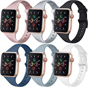 [6 PACK] Bands Compatible with Apple Watch Bands 40mm 38mm for Women Men, Slim Thin Narrow Bands for iWatch SE & Series 6 5 4 3 2 1