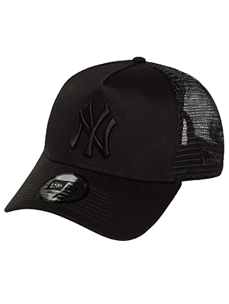 Black Black New York Yankees Clean A-Frame Trucker Cap by New Era   Amazon.ca  Clothing   Accessories e3d5310c548