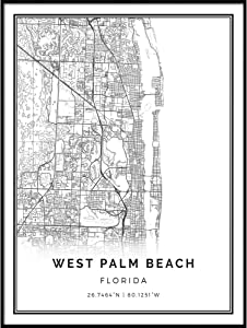 Squareious West Palm Beach map Poster Print | Modern Black and White Wall Art | Scandinavian Home Decor | Florida City Prints Artwork | Fine Art Posters 24x36