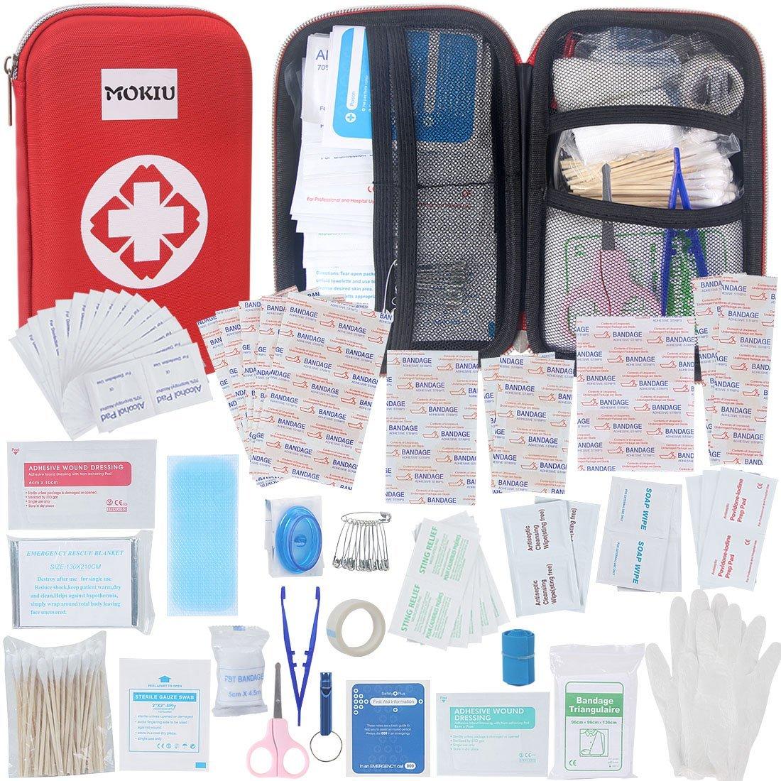 MOKIU Erste Hilfe Set 180-teilig,First Aid Kit Verbandtasche für Familie, Innenraum, Draußen Erste Hilfe, tragbar Wasseredicht und Staubdicht Draußen Erste Hilfe