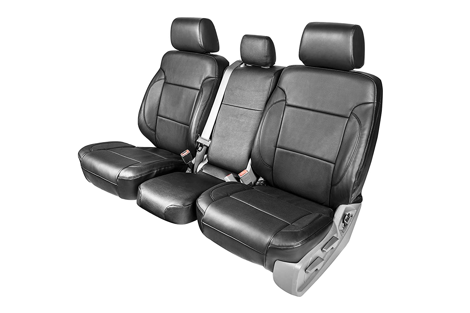 Clazzio 220711blk Black Leather Front Row Seat Cover for Toyota Tundra Double Cab