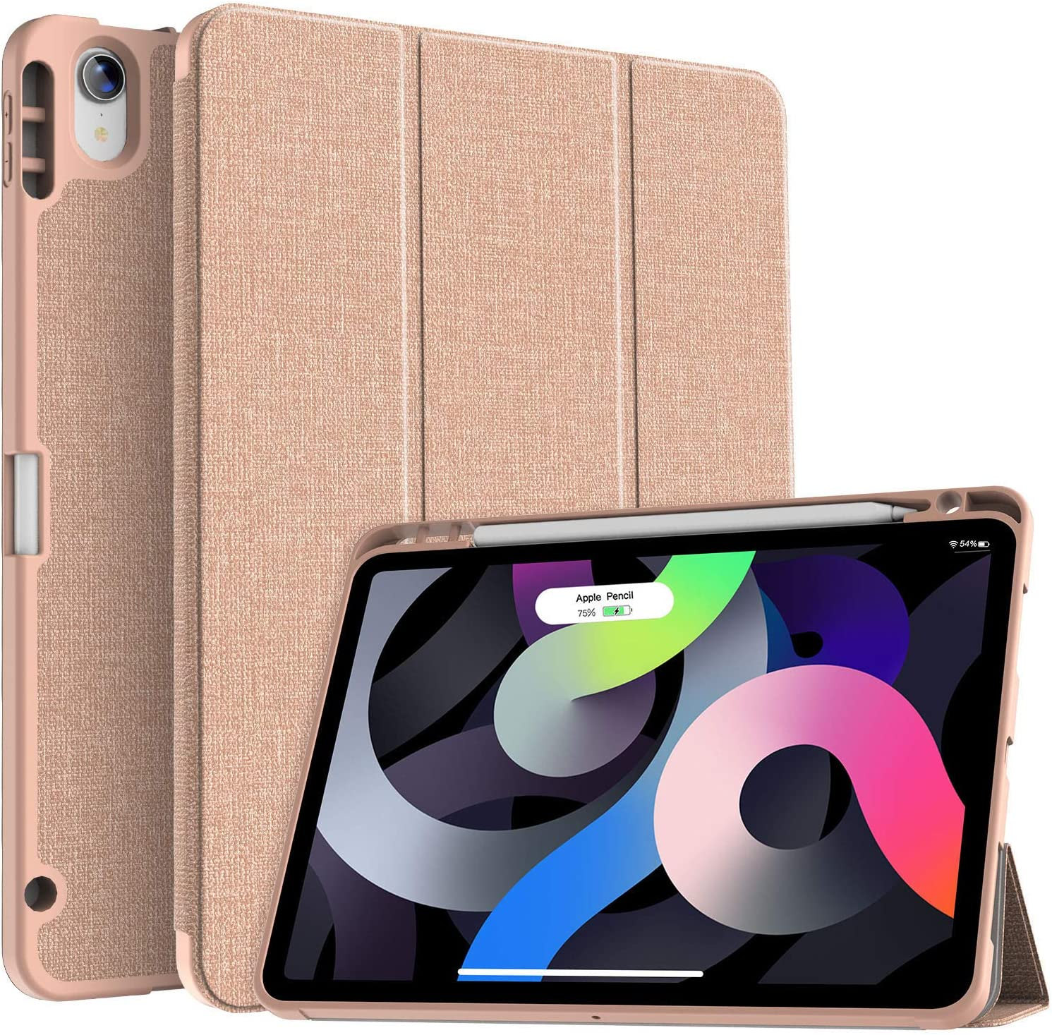 Soke iPad Air 4 Case 10.9 Inch 2020 with Pencil Holder - [Full Body Protection + Apple Pencil Charging], Soft TPU Back Cover for 2020 New iPad Air 4th Generation,Rose Gold