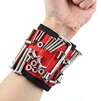 FSDUALWIN Magnetic armband, 5 Row Super Strong Magnets Arm Band for securing screws, nails, bits, washers, fasteners, light tools, small metal objects, and much more. The ultimate toolbox accessory and perfect gift idea.
