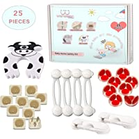 Wandeson Baby Proofing Kit (25 Pieces), 8 Corner Protectors Edge Guards (Pre-Taped), 4 Multi-Purpose Locks, 2 Cabinet Latches, 10 Outlet Plug Covers, and 1 Door Finger Protector, Baby Safety All-in-one Kit …