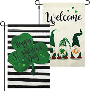 2 Pieces St Patrick's Day Garden Flag Welcome Gnome Garden Flag Vertical Double Sided Decorative Shamrock Yard Flag Irish Green Shamrock Yard House Flag for Outdoor Indoor Decoration, 18.5 x 12.6 Inch