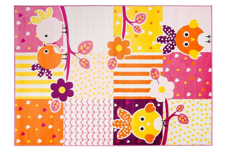 TAPISO Smile Tappeto Gioco Bambini Moderno Stanza da Letto Stanza Bambini Arancione Animali Geometrico Pelo Corto Morbido Antiallergico 80 x 150 cm