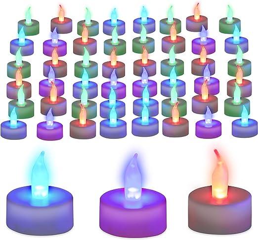 Relaxdays Pack Velas Led Colores, Plástico, 48 Unidades: Amazon.es: Hogar