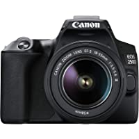 "EOS 250D (24, 1 megapíxeles, pantalla de 7,7 cm (3""), sensor APS-C, 4K, Full HD, DIGIC 8, WLAN, Bluetooth), color negro, incluye objetivo EF-S 18-55 mm f/3.5-5.6 IS STM, color negro"