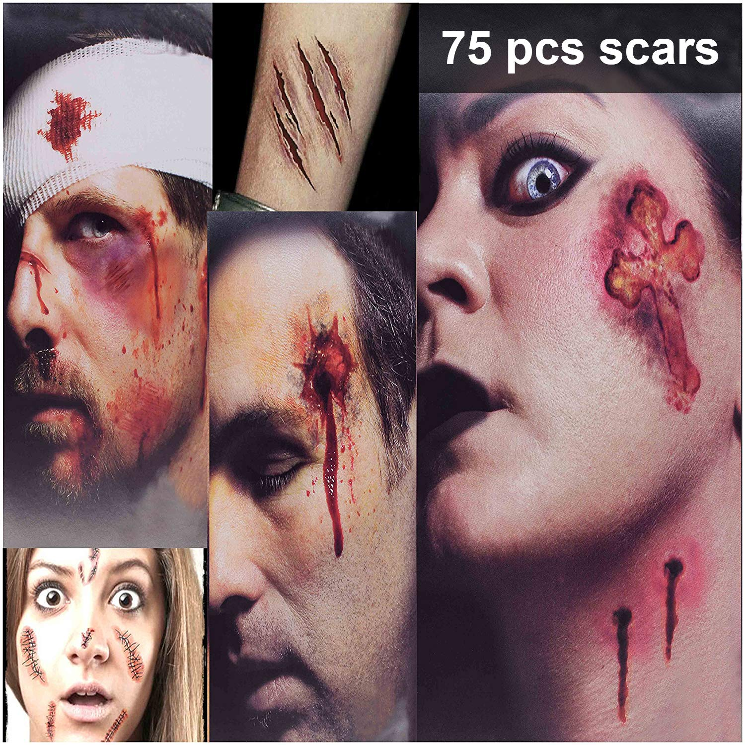 Zombie Makeup Tattoos, Halloween Zombie Makeup Kit, Scar Tattoos, 3(Large)+6(Small) Pack Vampire Bite Tattoo, Fake Scars, Halloween Makeup Kit, Waterproof Fake Blood, Safe Zombie Makeup Kit for Kids by HIGHEVER