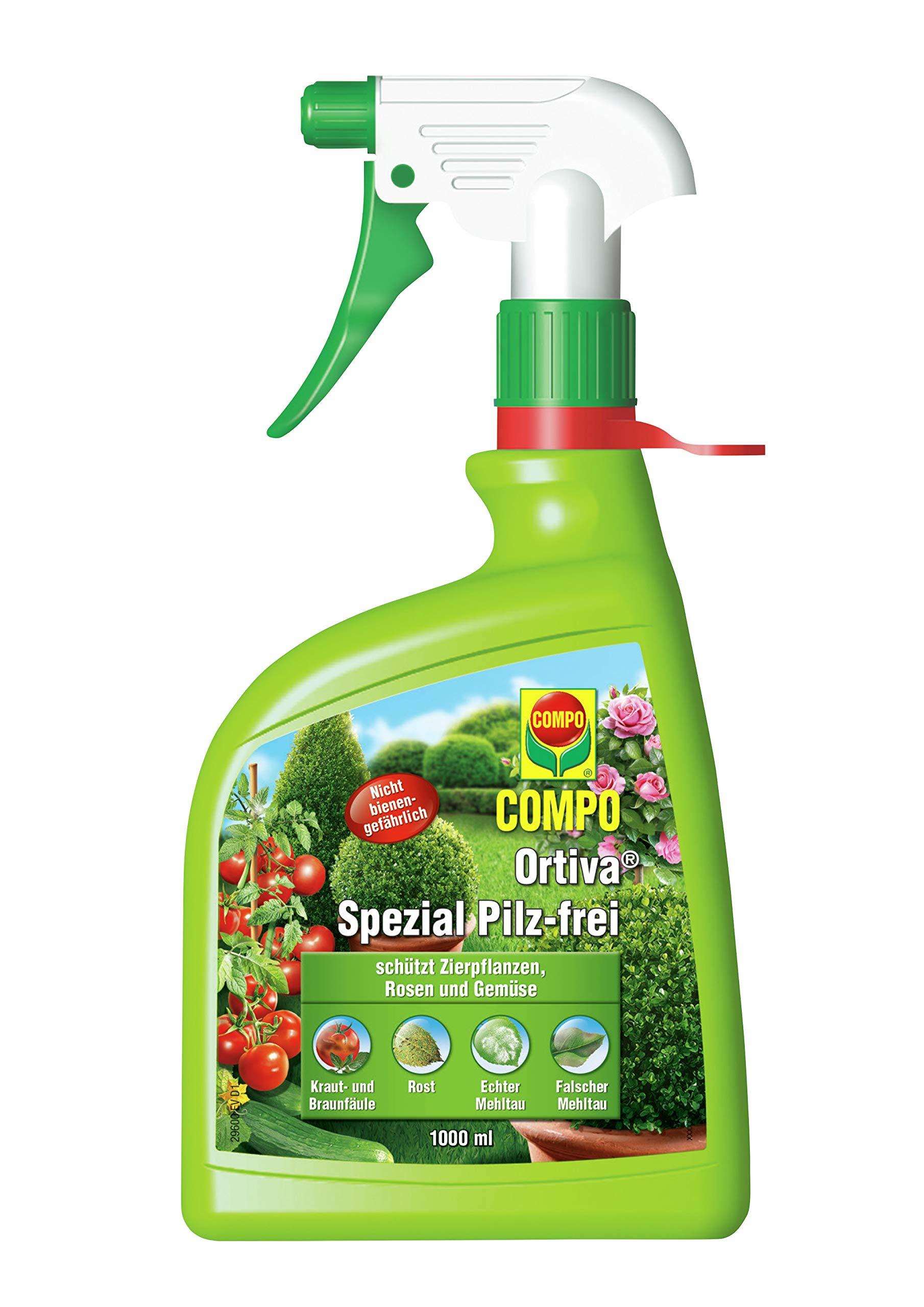 COMPO Ortiva Spezial Pilz-frei AF, Bekämpfung von Pilzkrankheiten an Zierpflanzen, Ziergehölzen und Gemüse, Anwendungsfertig, 1 Liter product image