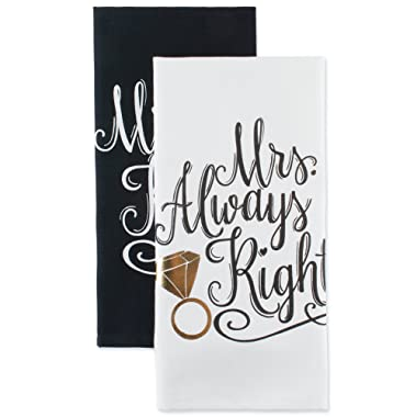 DII Cotton Mrs. Dish Towels (Set of 2) Perfect Wedding, Housewarming Gift, 18 x 28, Dishtowels-Mr. and Mrs. , 2 Piece