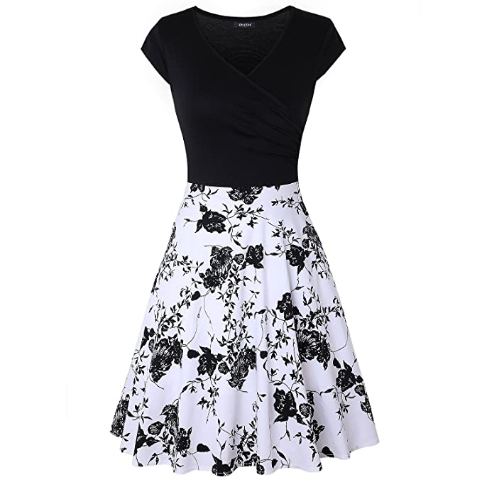 8a4f157ede0d5 OWIN Women's Casual Dress, Elegant Cap Sleeve Floral Party A-Line Dress